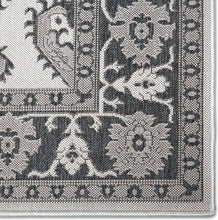Floral Black Grey Indoor/Outdoor Area Rug - UV/Weather Resistant