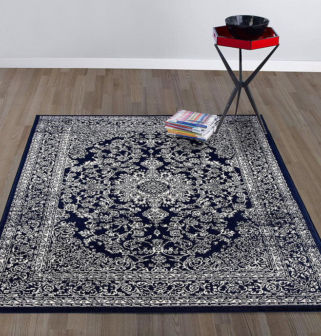 Oriental Design Navy Ivory Area Rugs Runners