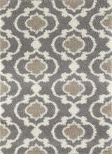 Trellis Gray/Grey Cream Shag Area Rug