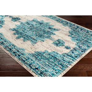 Traditional Medallion Distressed Teal Cream Gray Area Rug
