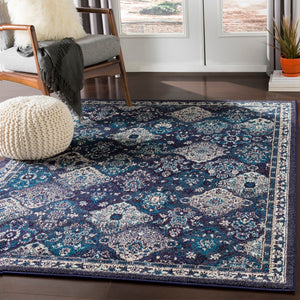 Traditional Medallion Navy Teal Grey Beige Area Rug