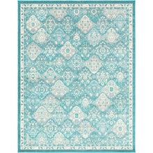 Traditional Medallion Teal Pale Blue White Area Rug