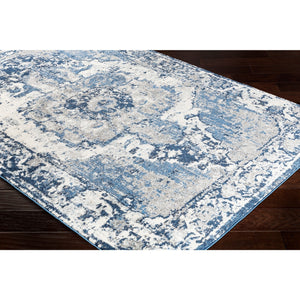 Vintage Distressed Blue Cream Area Rugs