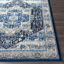 Traditional Navy Blue Gray White Area Rug