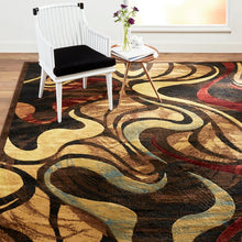 Contemporary Abstract Black Brown Beige Soft Area Rugs - Multiple Sizes