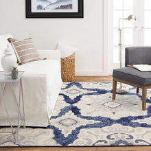 Geometric Navy Blue Gray Ivory Soft Area Rugs