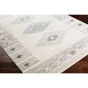 Southwestern Ivory Gray White Black Area Rug