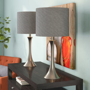 "Metal Nickel Finish 25"" Table Lamp Set (Set of 2)"