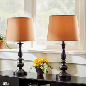 22 inch Bronze Finish Coffee Fabric Shades Table Lamp (Set of 2)