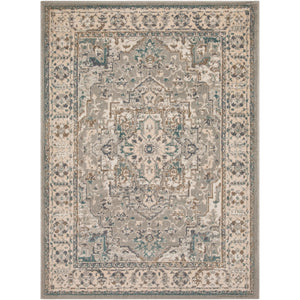 Vintage Traditional Bordered Beige Cream Teal Area Rug