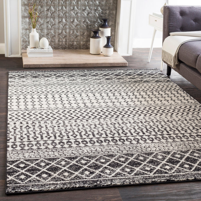 Distressed Geometric Black White Area Rug