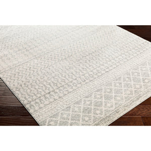 Distressed Geometric Ivory Gray Area Rug