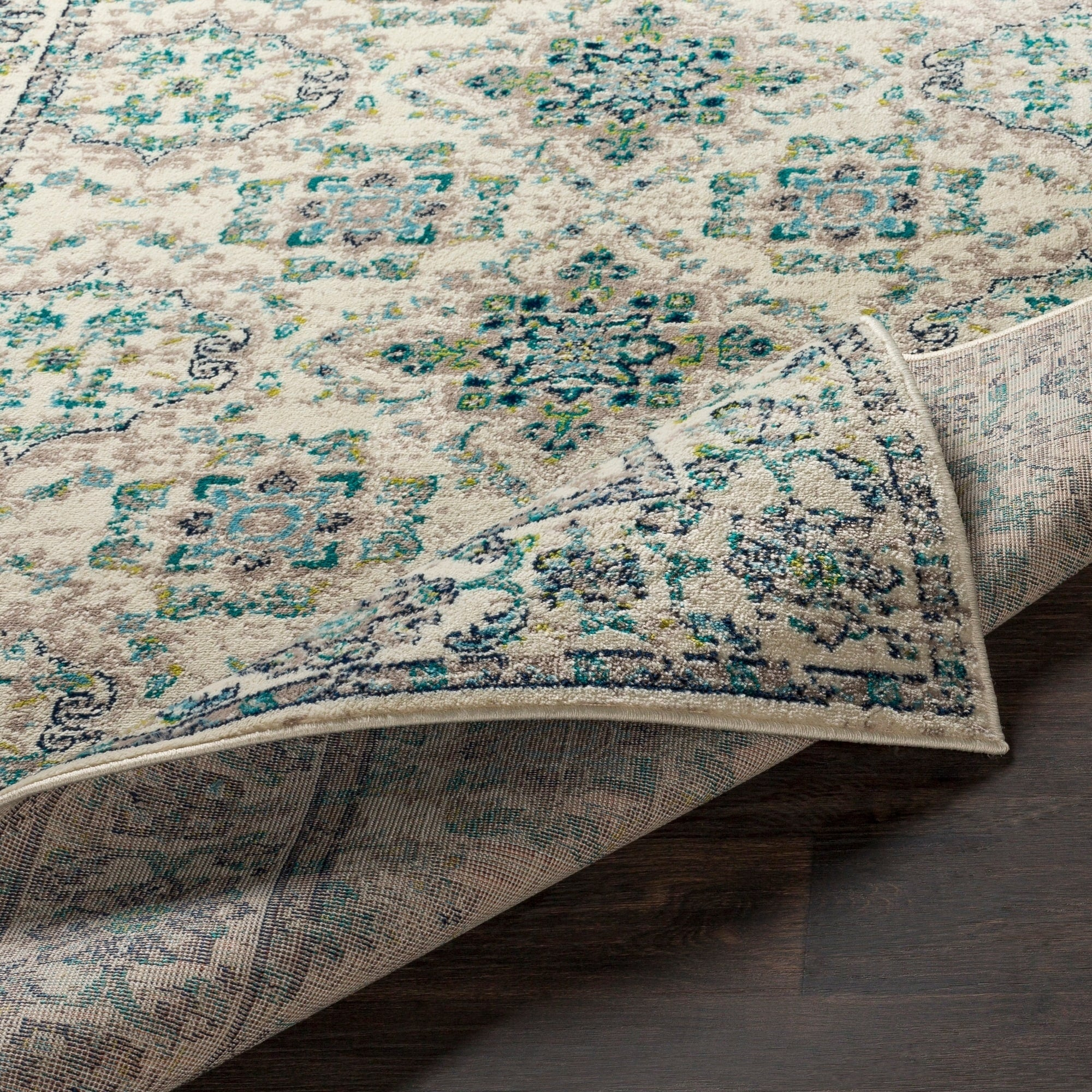 Transitional Border Soft Teal Lime Ivory Area Rug Modern Rugs And Decor