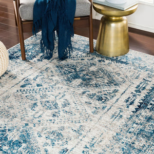 Distressed Persian Pattern Sky Blue Light Gray Soft Area Rug