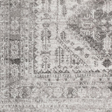 Oriental Charcoal Light Gray White Area Rug