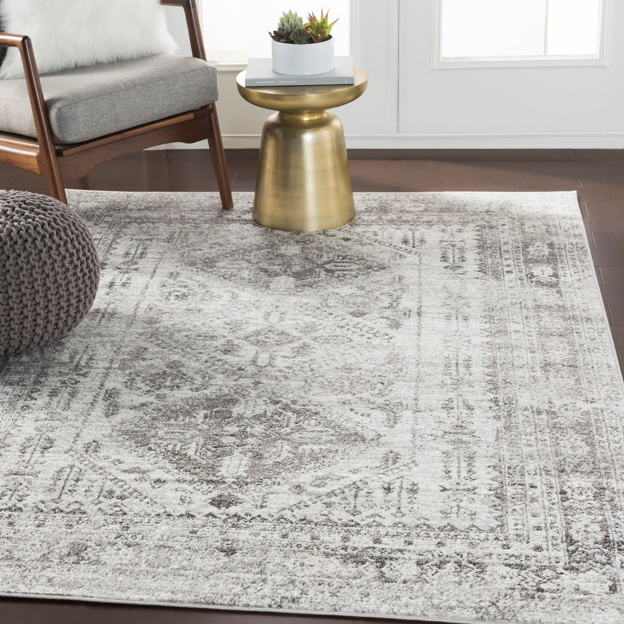 Oriental Charcoal Light Gray White Area Rug Modern Rugs And Decor
