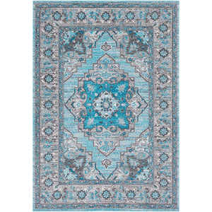 Traditional Medallion Blue Gray Area Rug