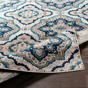 Transitional Floral Navy Blue Ivory Neutral Area Rug