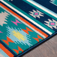 Southwestern Navy Blue Teal Area Rug