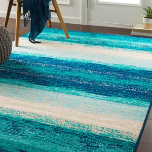 Contemporary Striped Teal Aqua Blue Cream Area Rug