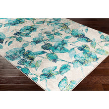 Floral Teal Blue Lime Cream Area Rug