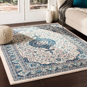 Traditional Medallion Ivory Navy Blue Area Rug