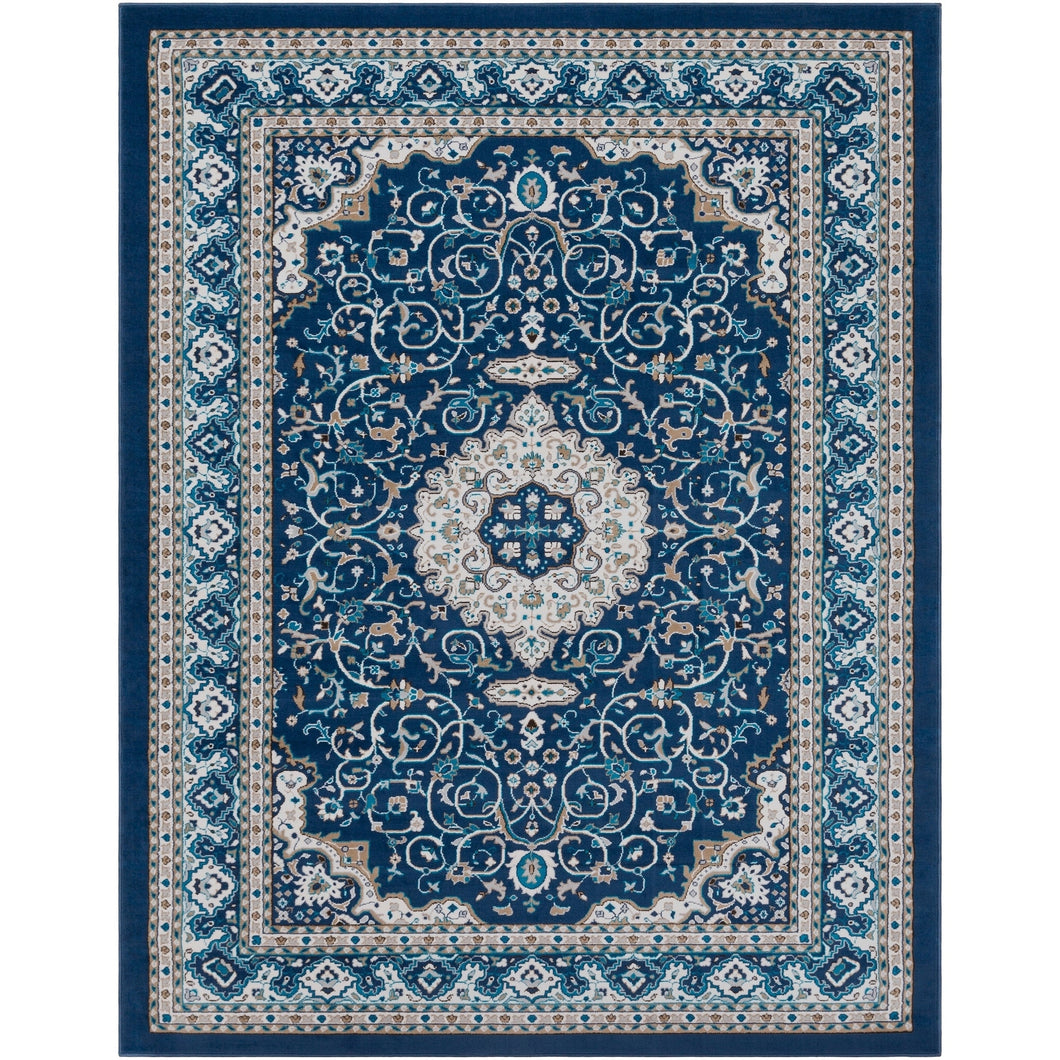 Traditional Medallion Navy Sky Blue Ivory Area Rug