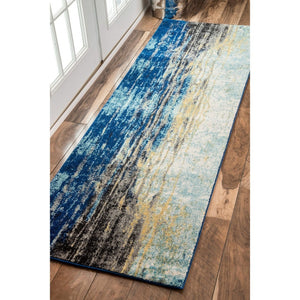 Waterfall Vintage Abstract Blue Grey Soft Area Rug - Multiple sizes available