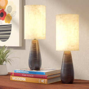 "Ceramic Dark Bronze 17.5"" Table Lamp Set (Set of 2)"