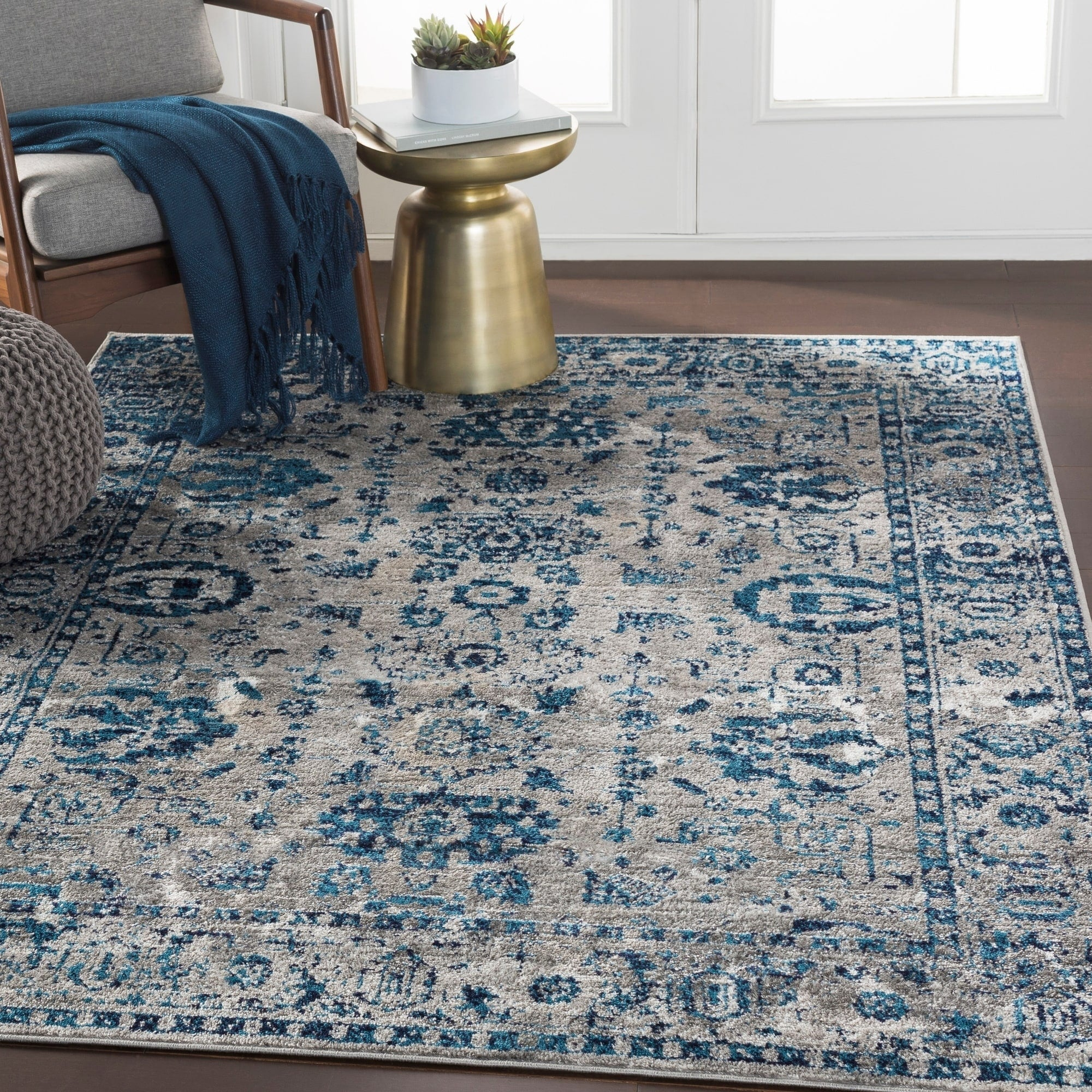 Traditional Distressed Persian Pattern Sky Blue Light Gray Soft Area R Modern Rugs And Decor