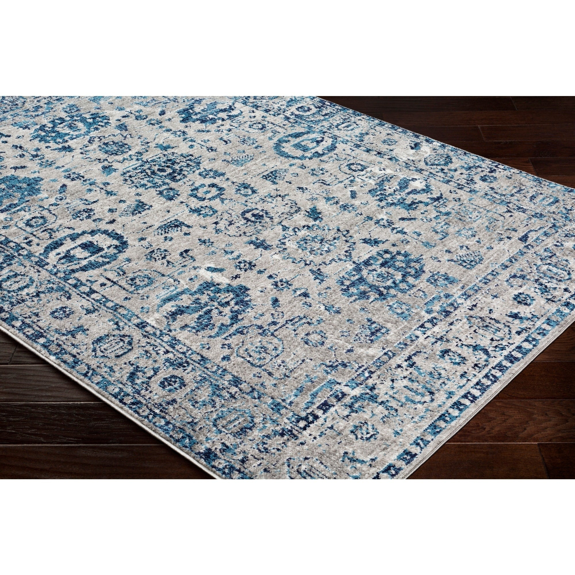 Traditional Distressed Persian Pattern Sky Blue Light Gray