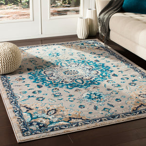 Traditional Floral Medallion Ivory Grey Blue Brown Area Rug