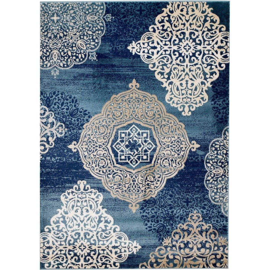 Picture of: Traditional Floral Navy Blue White Area Rugs Modern Rugs And Decor