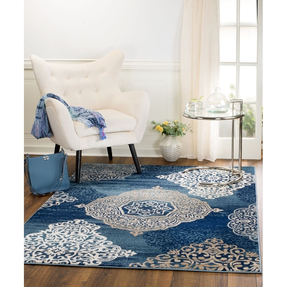 Traditional Floral Navy Blue White Area Rugs