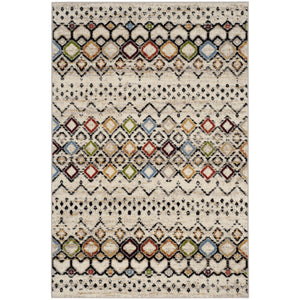 Modern Moroccan Pattern Ivory Multi-Color Area Rug