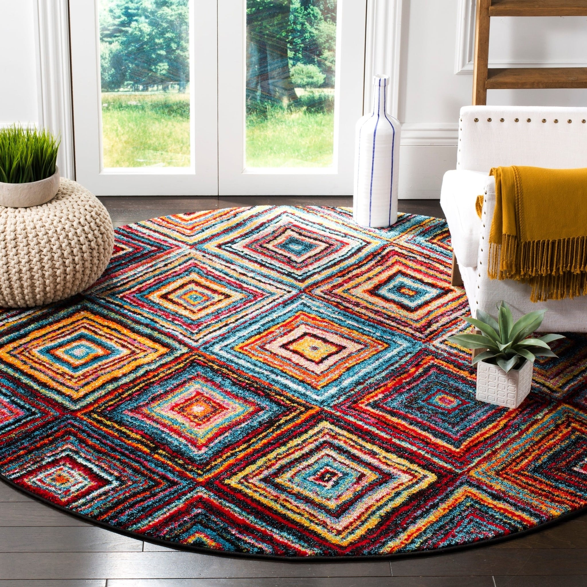 Abstract Multi Color Diamond Pattern Area Rugs Modern Rugs And Decor