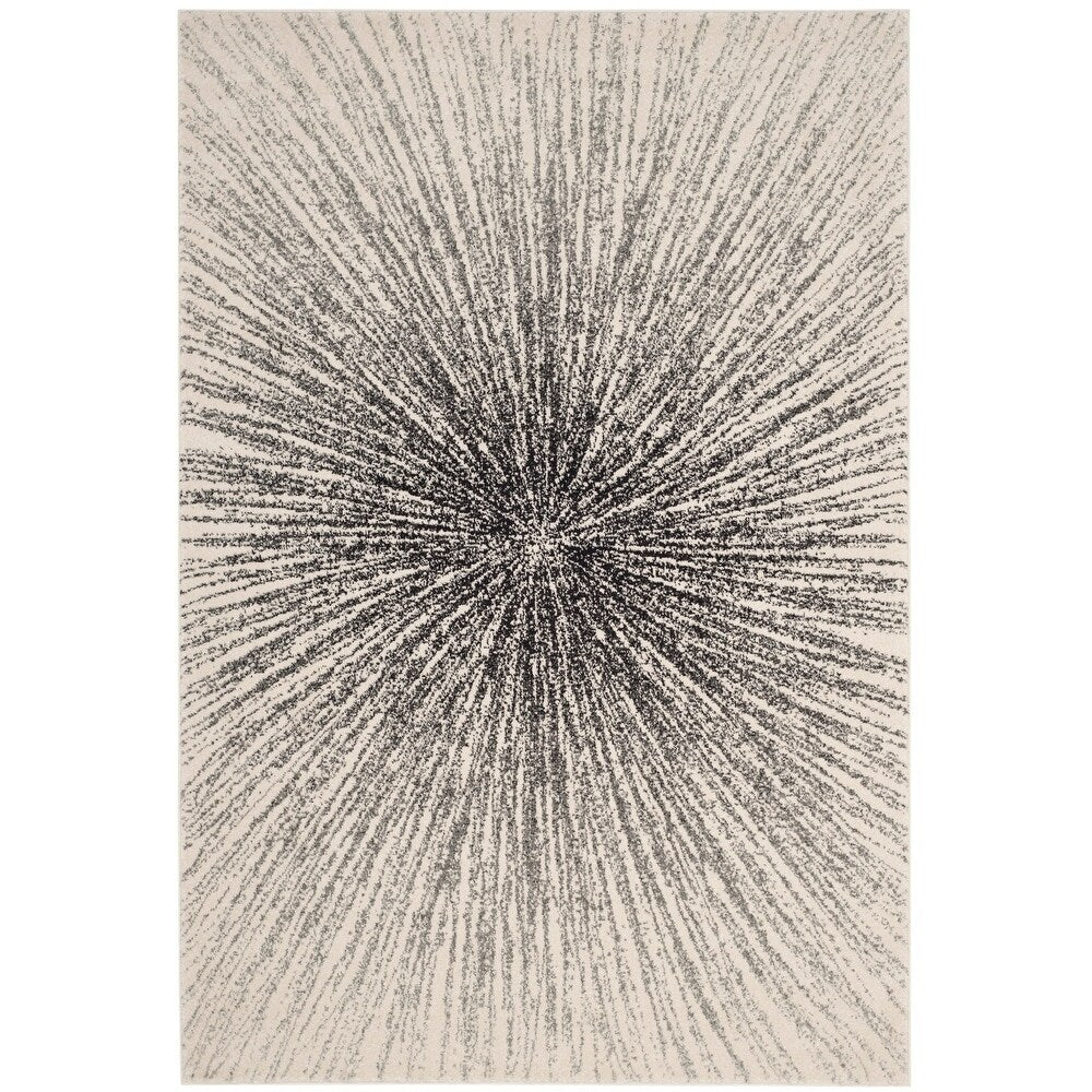 Contemporary Burst Pattern Black Ivory Soft Area rugs