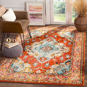 Distressed Orange Light Blue Soft Area Rug