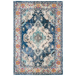 Distressed Navy Light Blue Soft Area Rug