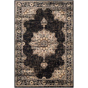 Traditional Medallion Distressed Black Beige Area Rug