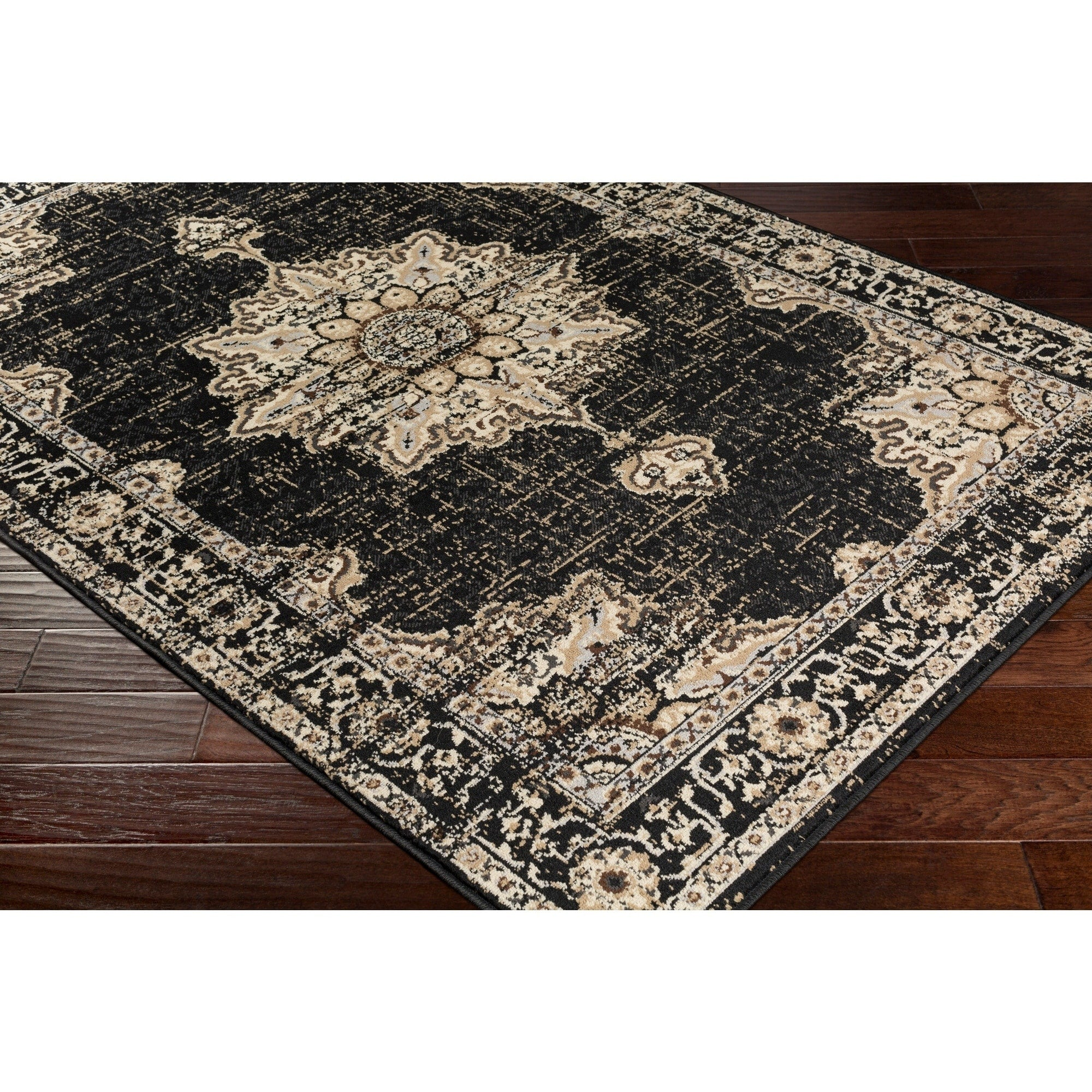 Traditional Medallion Distressed Black Beige Area Rug Modern Rugs And Decor