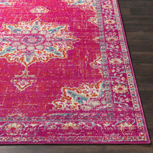 Traditional Medallion Distressed Fuchsia Area Rug