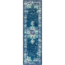 Traditional Medallion Distressed Navy Blue Cream Light Gray Area Rug