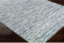 Contemporary Ivory Blue Stripes Area Rug