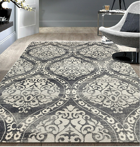 Floral Damask Gray/Grey Area Rug