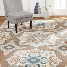Geometric Cerulean Blue Taupe Soft Area Rugs