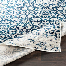 Distressed Damask Navy Blue White Area Rug