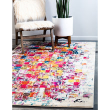 Distressed Ivory Multi-color Soft Area Rug