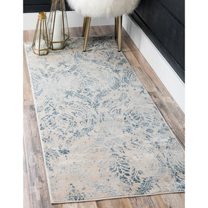 Abstract Pattern Muted Blue Soft Area Rug