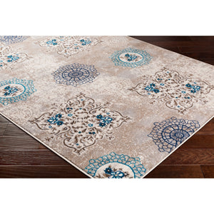 Floral Circle Ivory Grey Blue Brown Area Rug